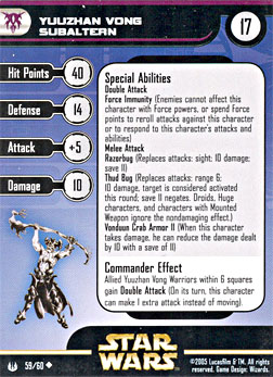Star Wars Miniature Stat Card - Yuuzhan Vong Subaltern, #59 - Uncommon