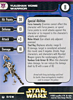 Star Wars Miniature Stat Card - Yuuzhan Vong Warrior, #60 - Common